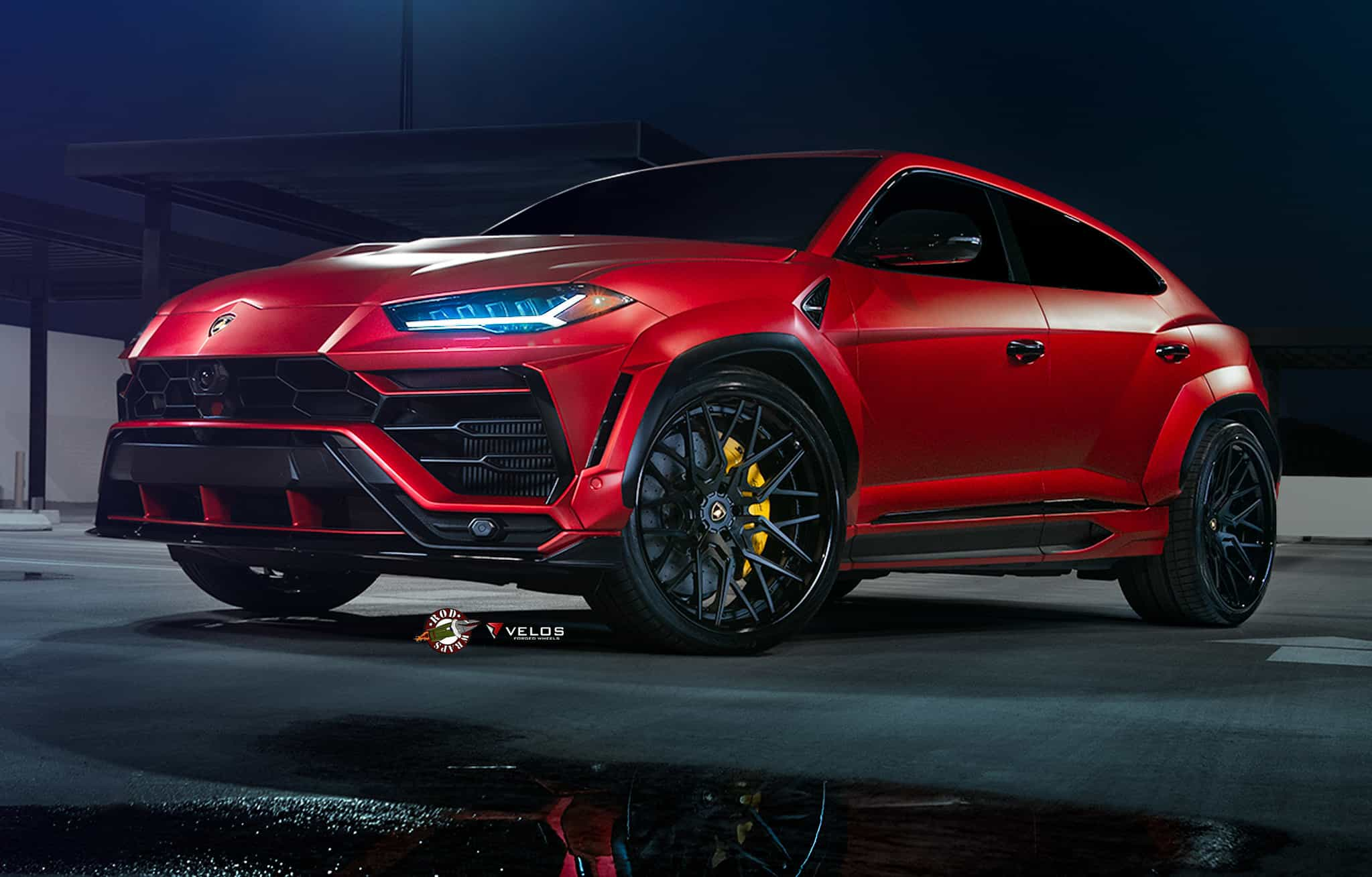 "Red Widebody Lamborghini Urus on 24"" Velos Wheels"